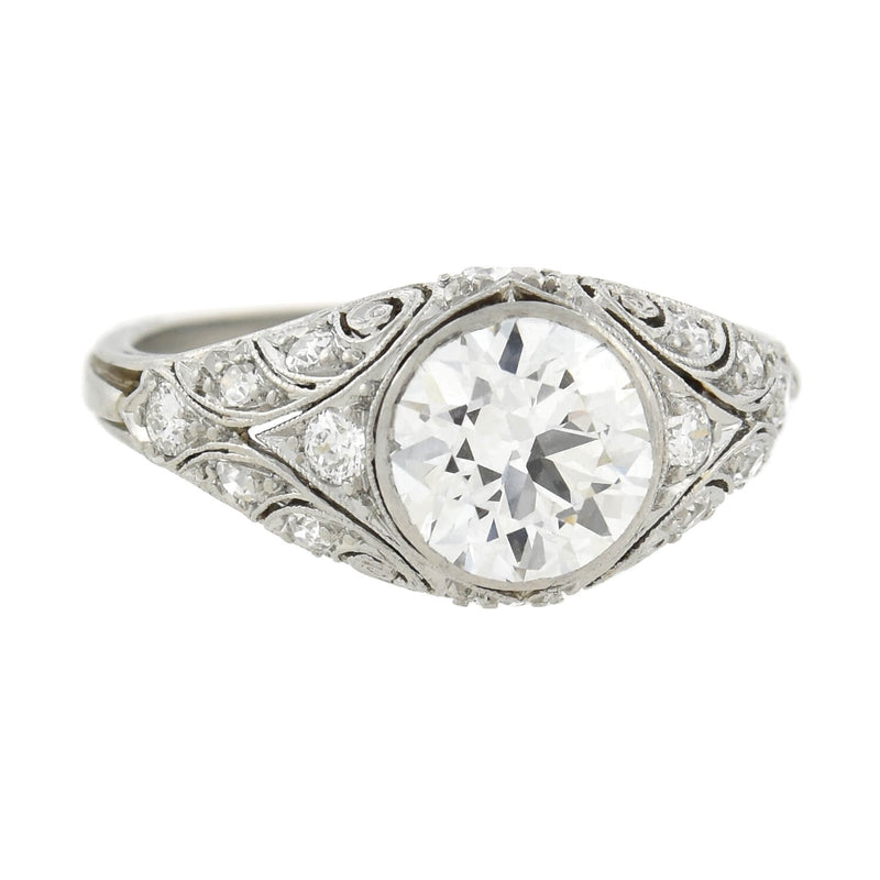 Retro Platinum Ornate Single Cut Diamond Half Band Ring