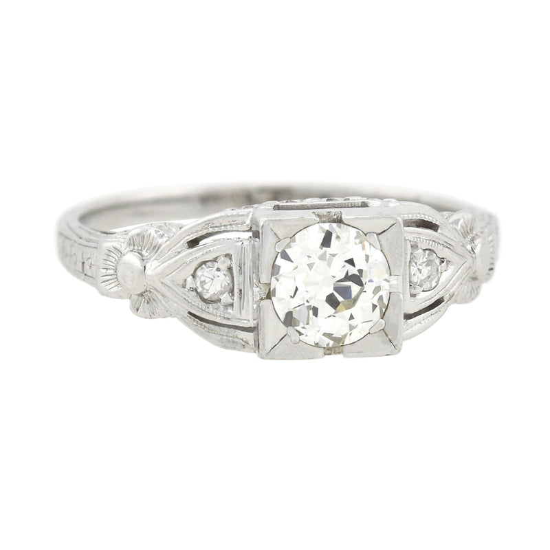 Late Art Deco Platinum & Diamond Engagement Ring .50ct