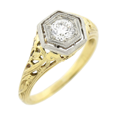 Art Deco 14kt Mixed Metals Diamond Engagement Ring 0.40ct