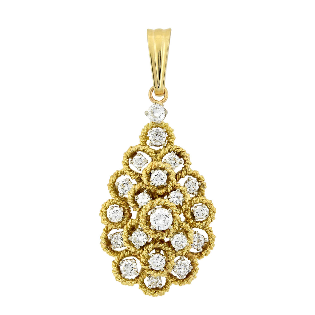 Estate Large 14kt Brilliant Cut Diamond Pendant 1.25ctw