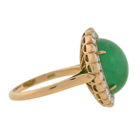 Vintage 14kt Emerald Cabochon & Diamond Ring 4ct.
