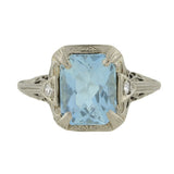 Art Deco 18kt Aquamarine & Diamond Filigree Ring 4ct.