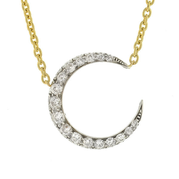 Victorian Sterling/14kt Diamond Crescent Moon Necklace 4.00ctw