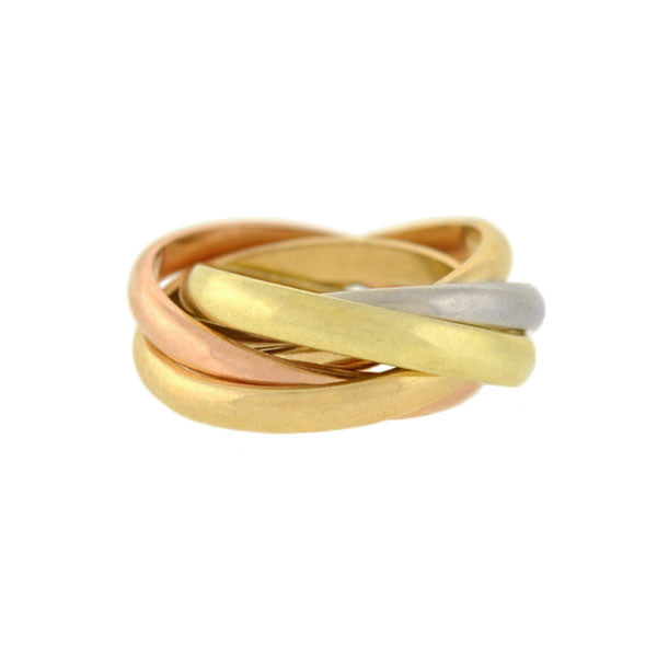 Estate 14kt Mixed Metals 5-Band Roller Ring