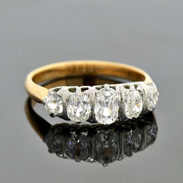 Edwardian 14kt/Platinum Cushion Mine Cut Diamond 5-Stone Ring 1.35ctw