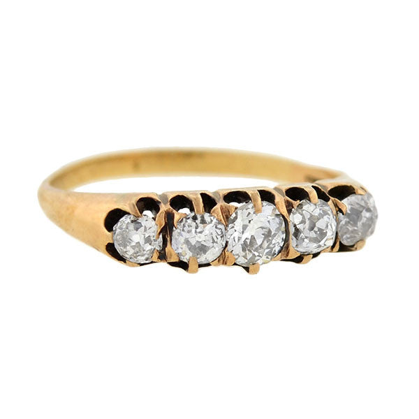Victorian 15kt 5-Stone Diamond Ring 0.80ctw