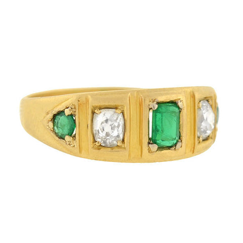 Victorian 18kt Emerald & Diamond 5 Stone Band Ring