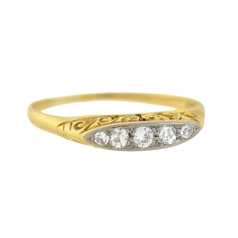 Victorian 18kt & Platinum Diamond 5-Stone Ring