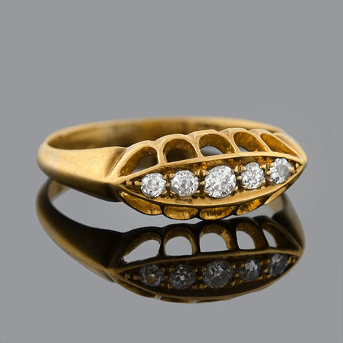 Victorian English 18kt Diamond 5-Stone Ring .10ct