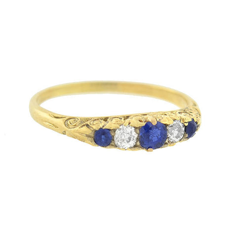 Victorian French 18kt Sapphire & Diamond 5-Stone Ring