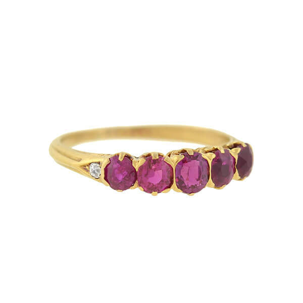 Victorian 14kt Burmese Ruby 5-Stone Ring