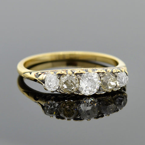 Victorian 14kt Mine Cut Diamond 5-Stone Ring .75ctw