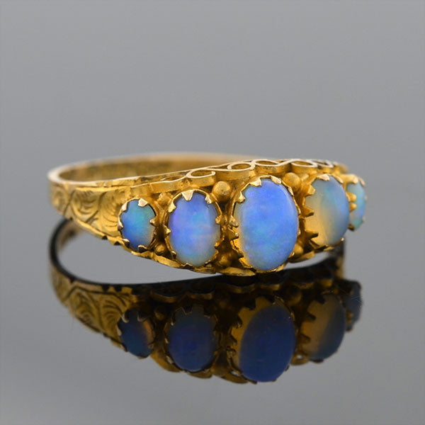 Victorian English 9kt Opal 5-Stone Ring