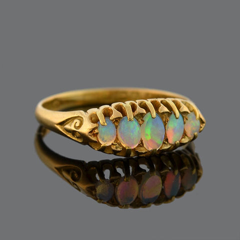 Victorian 18kt Gold 5-Stone Opal Ring with Heart Motif