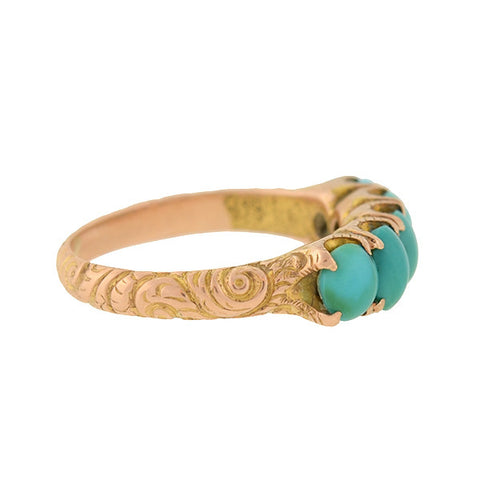 Victorian 14kt Turquoise 5-Stone Ring