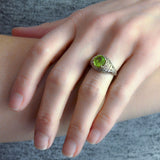 Late Art Deco 14kt Filigree Peridot Ring