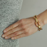 Retro 14kt Rose + Yellow Gold Gate Link Bracelet 30.9 G