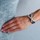 ANGELA CUMMINGS Vintage Sterling Criss Cross Cuff Bracelet