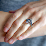 Victorian 15kt/Sterling 3-Stone Diamond Ring 1.60ctw