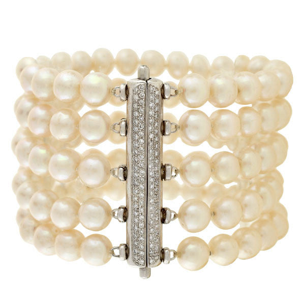 Estate 18kt Cultured Pearl & Diamond 5-Strand Bracelet