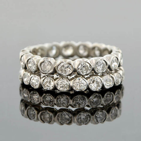 Art Deco Platinum Diamond Eternity Band Set 2.40ctw