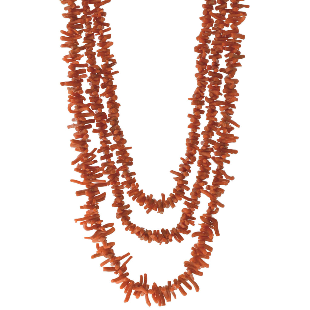 Vintage Long Graduated Branch Coral Bead Necklace 61.25""