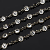 Late Victorian Long Gunmetal & Crystal Chain Necklace 64