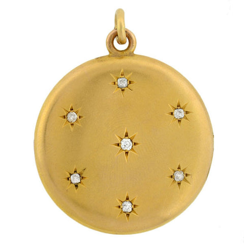 Victorian 10kt Gold Diamond Starburst Locket