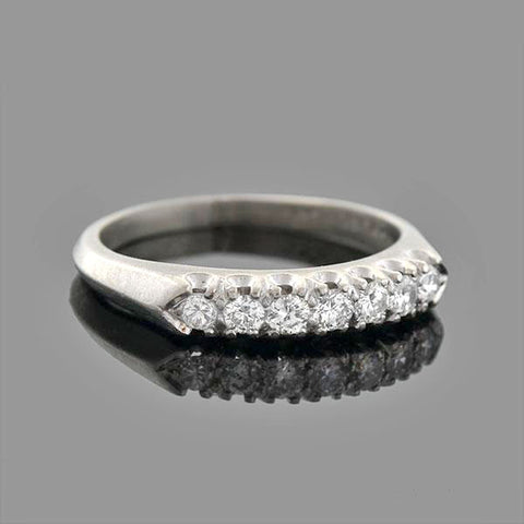 Retro Platinum Diamond Half-Band Ring 0.35ctw