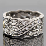 Art Deco Platinum & Diamond Wide Band Ring