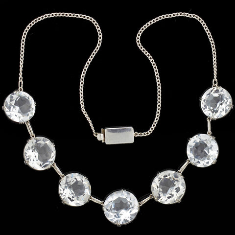 Art Deco Japanese Silver Rock Quartz Crystal Necklace 14.5""