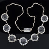 Art Deco Japanese Silver Rock Quartz Crystal Necklace 14.5