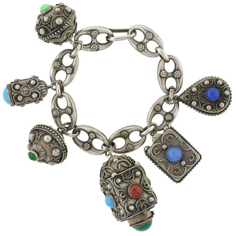 Vintage Silver & Synthetic Stones Italian Fob Bracelet