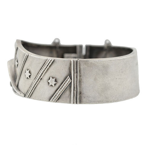 Victorian Silver Star & Stripes Motif Bangle Bracelet