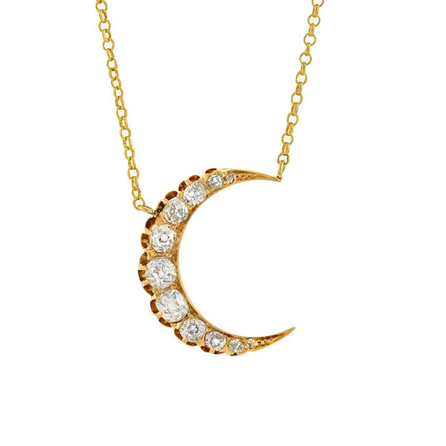 Victorian 14kt Mine Cut Diamond Crescent Moon Necklace 0.85ctw