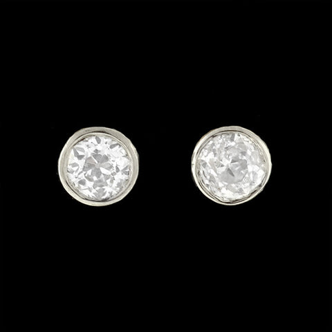 Edwardian Platinum/14kt Mine Cut Diamond Studs .80ctw