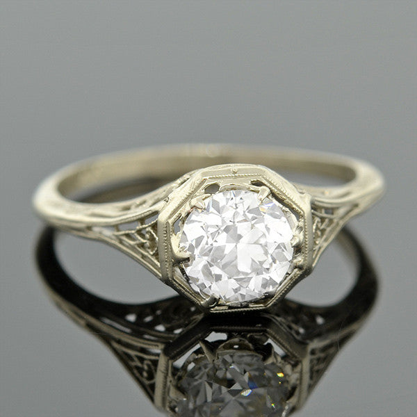 Art Deco 14kt Diamond Engagement Ring .97ct