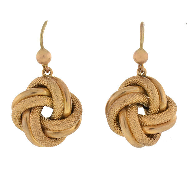 Victorian 9kt Gold Textured Love Knot Earrings