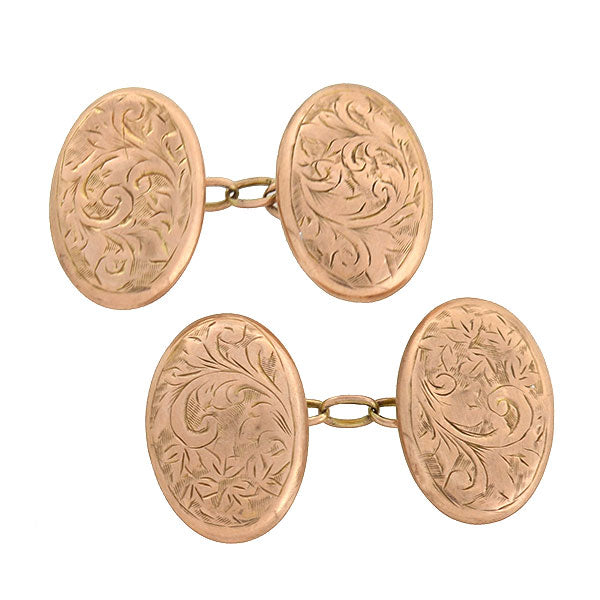 Victorian 9kt Gold Etched Oval Cufflinks