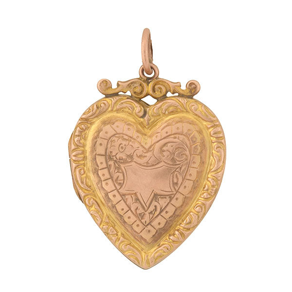 Late Victorian English 9kt Etched Heart Locket