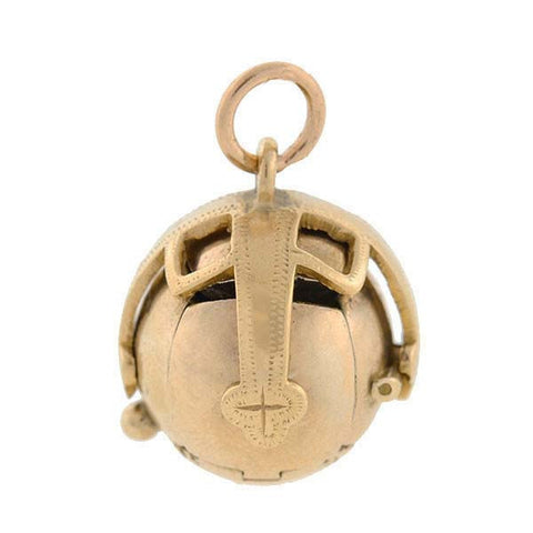 Retro 9kt Golden Masonic Orb Folding Ball Fob Pendant