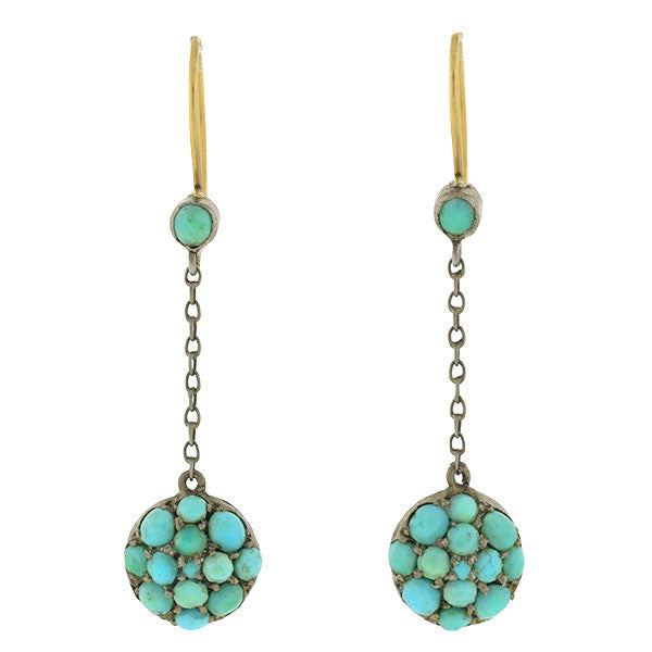 Victorian 9kt Hanging Pave Turquoise Earrings