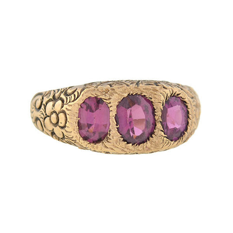 Victorian 9kt Pink Tourmaline Floral Motif Gypsy Ring