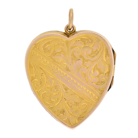 Victorian 9kt Etched Floral Motif Heart Locket
