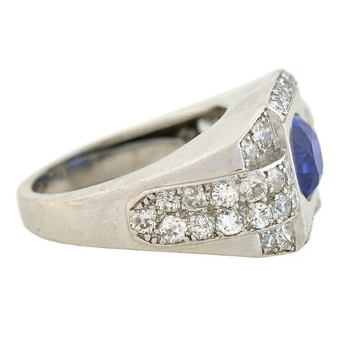 Late Art Deco French Platinum 4.30ct Natural Ceylon Sapphire Diamond Ring