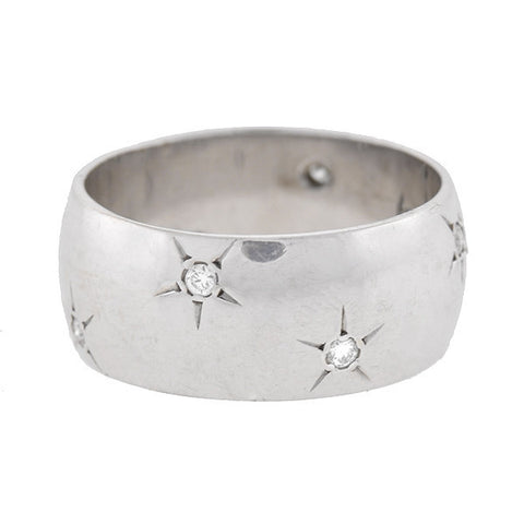 ARTCARVED Vintage 14kt & Diamond Starburst Wide Band