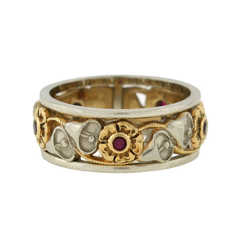 ARTCARVED Vintage 14kt Mixed Metals Ruby Floral Band