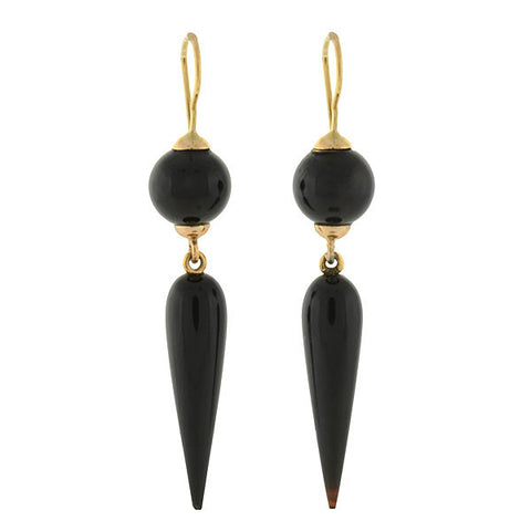 Victorian 14kt Dangling Agate Ball & Spear Earrings