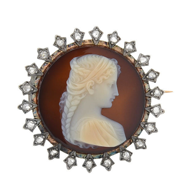 Victorian French 18kt/Sterling Agate Cameo & Diamond Pin
