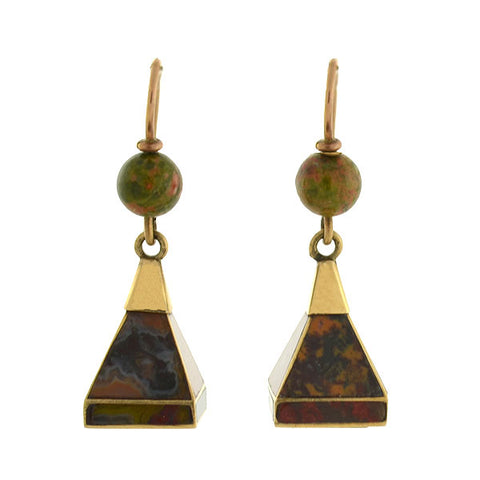 Victorian 14kt Pyramidal Scottish Agate Earrings